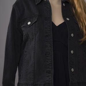 PACSUN Black denim jacket-full embroidery back
